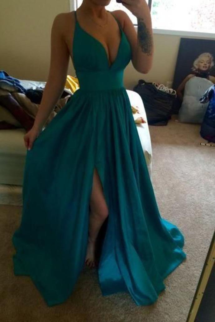 Charming Deep V neck Side Slit Evening Party Dress, Sleeveless Long Prom Dress