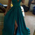 Charming Deep V neck Side Slit Evening Party Dress, Sleeveless Long Prom Dress