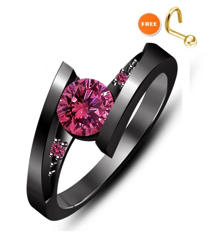 18k Black Gold Finish New Round Cut Pink Sapphire Engagement Wedding Ring In 925