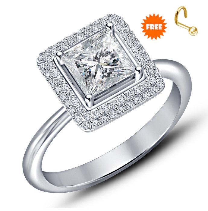 14k Yellow Gold Finish Round Cut Diamond Engagement Wedding Ring 925 Sterling