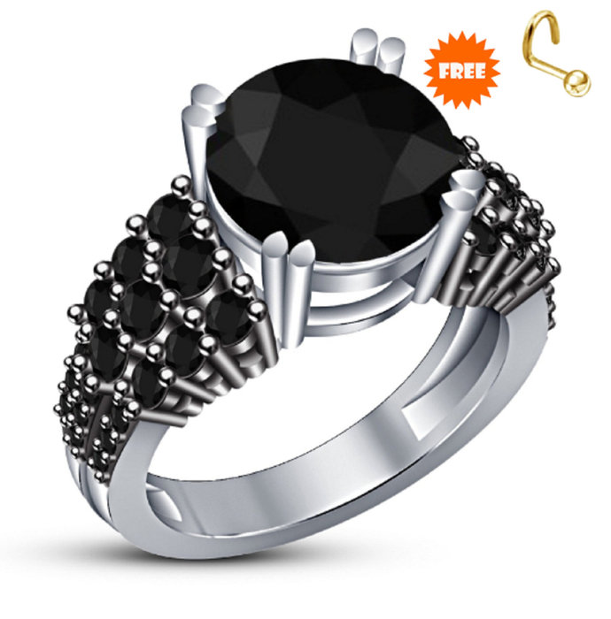 14k White Gold Finish Round Cut Black Diamond Engagement Wedding Ring 925