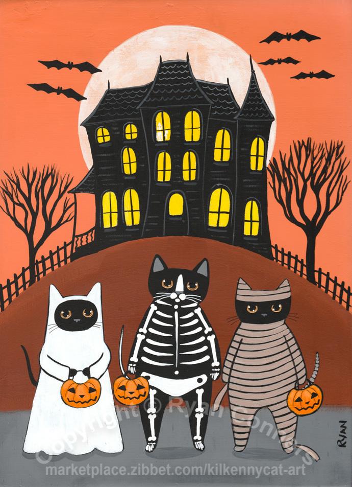 Trick or Treat At the Haunted House Original Halloween Cat Folk Art Painting