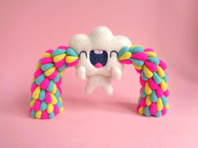 TINY TOY - Happy Tears Cloud Raindrop - blue, needle felted Art Toy, miniature