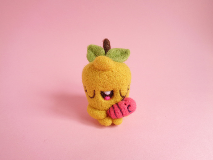 TINY TOY - Pommie and Baby Worm, felted art toy, cute apple and worm, miniature