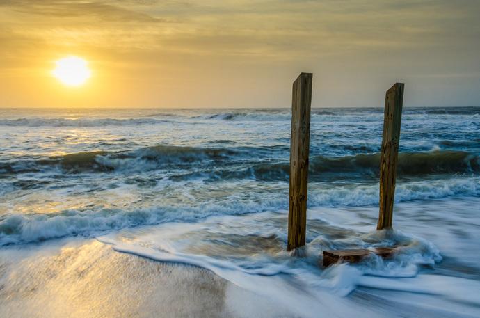 Kissed by the Sea - Sunrise on the Beach - Coastal Landscape Photograph Wall Art