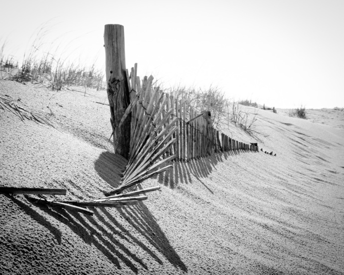 High Key Beach Sand Dunes and Fencing - Black & White Coastal Landscape