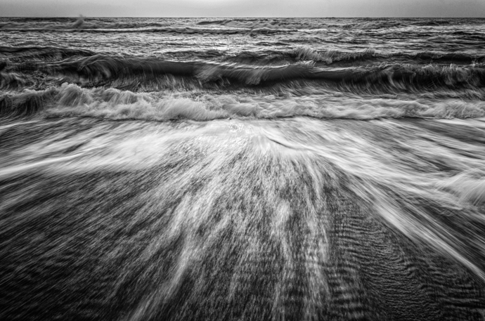 Washing Out to Sea in Black and White - Coastal Landscape Photograph Wall Art
