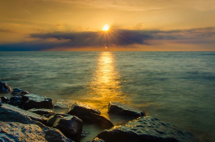 Sun Ray on the Water - Coastal Landscape Photograph Wall Art Prints