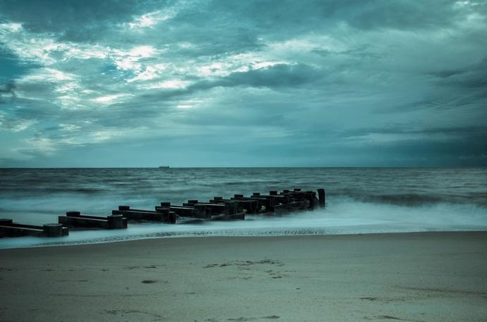 Blue Morning at Rehoboth Beach - Coastal Landscape Photograph Wall Art Prints