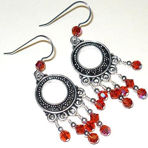 Swarovski Indian Red-AB 5000 Crystals & Bali Chandelier Earrings