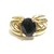 Dark sapphire ring in 14k yellow gold in a braided design, September birthstone