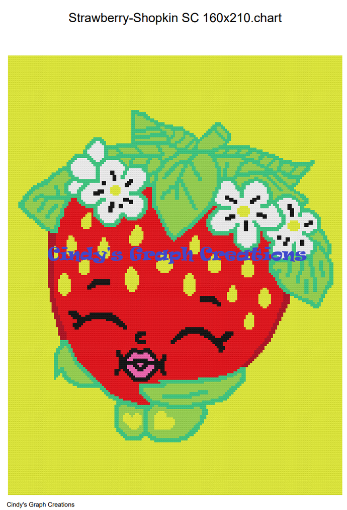 Strawberry Shopkins - SC 160x210 Graph with Written Color Chart included