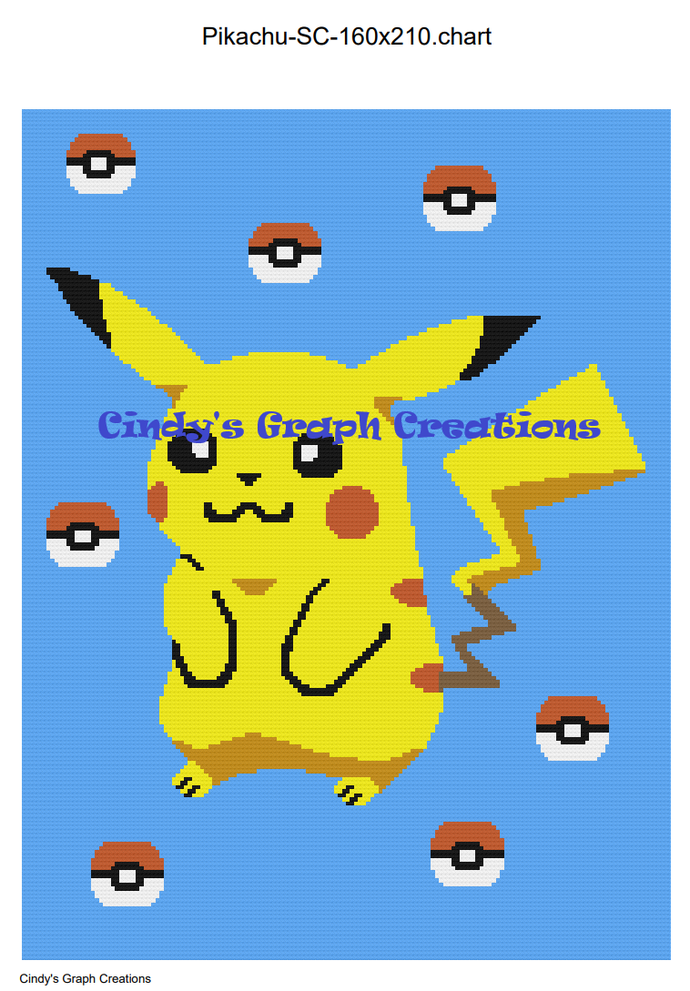 Pikachu SC 160x210 includes Graph with Written Color Chart