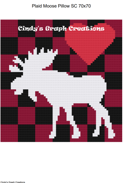 Plaid Moose Pillow SC Graph with Written Color Charts