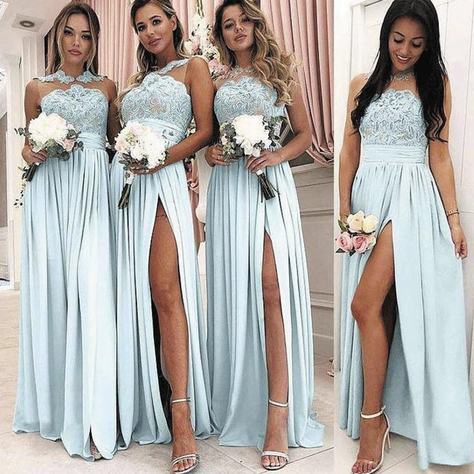 lace appliqué blue bridesmaid dresses long chiffon a line cheap elegant wedding