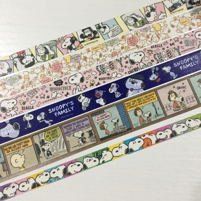 6 Rolls of Washi Tape- Peanut Comic Snoopy and Charlie Brown