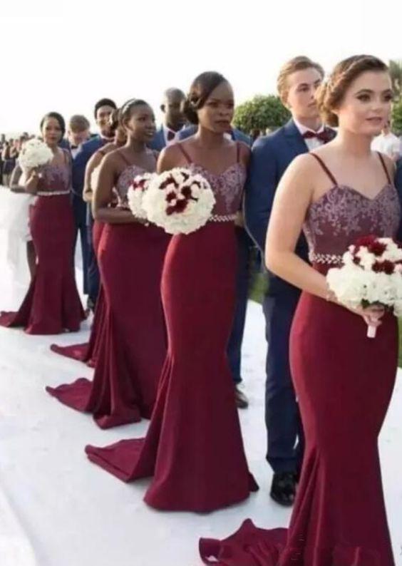 Spaghetti Burgundy Mermaid Bridesmaid Dresses, Lace Top Beaded Bridesmaid