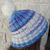 Hand Knitted Women's Two Style Blue And White Random Winter Hat With A White Pom