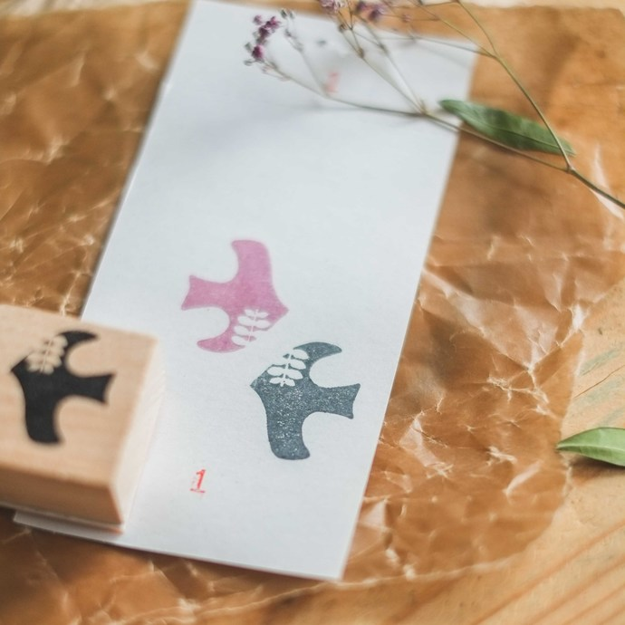 London Gifties x Petra original design wooden stamp - Birdie 1 - 3 x 3 cm - B