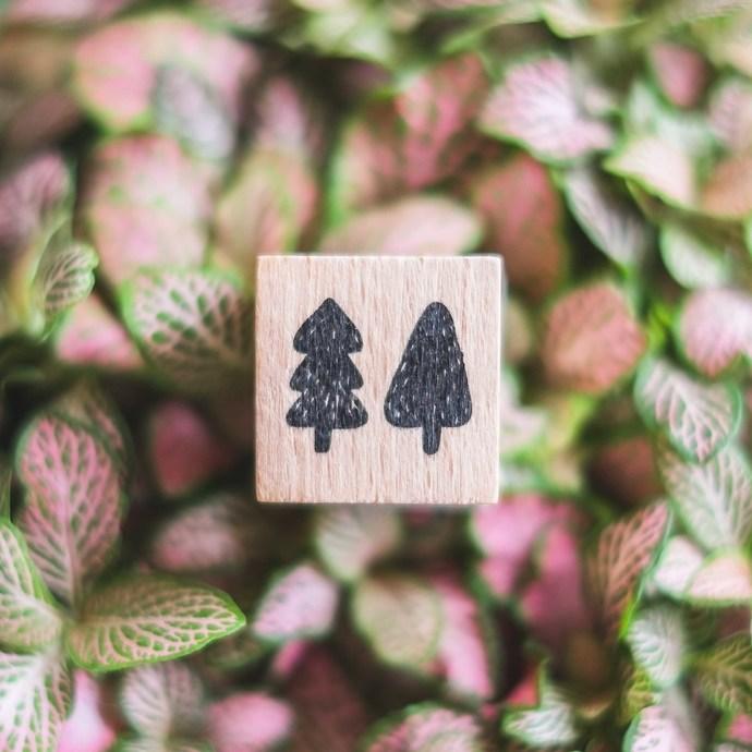 London Gifties x Petra original design wooden stamp - Trees - 3 x 3 cm - B