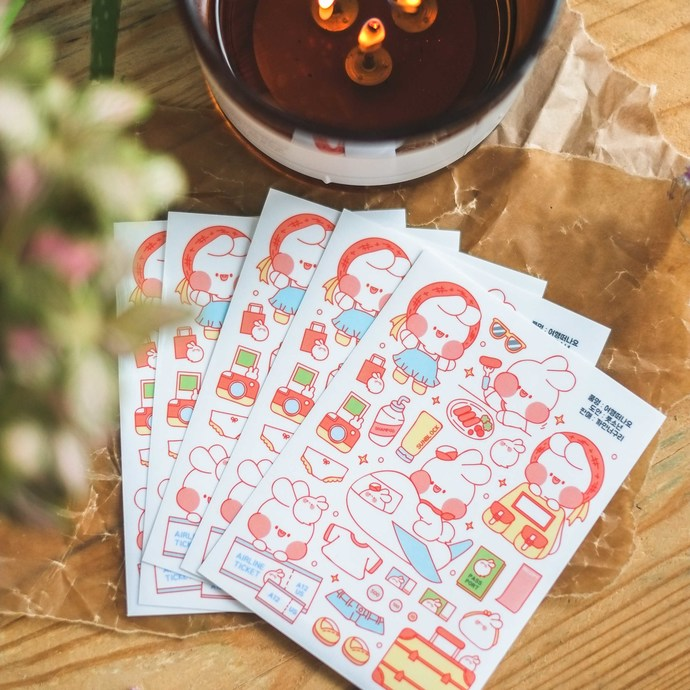 Put So Nyeon cute sticker sheets, set of 2 - Travel Packing