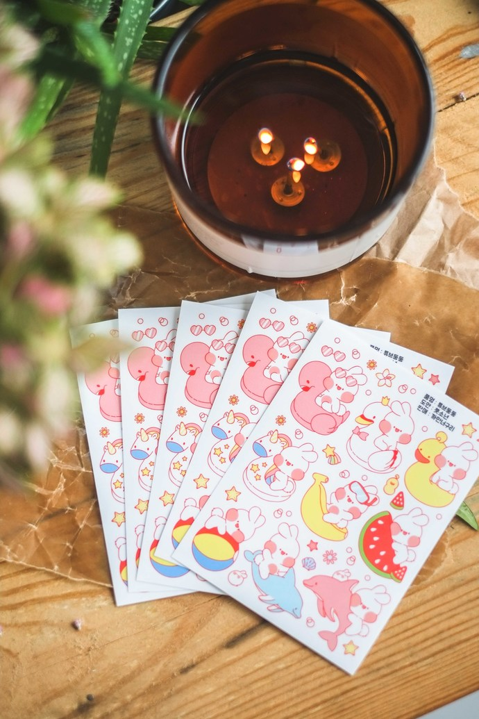 Put So Nyeon cute sticker sheets, set of 2 - Seaside Treats