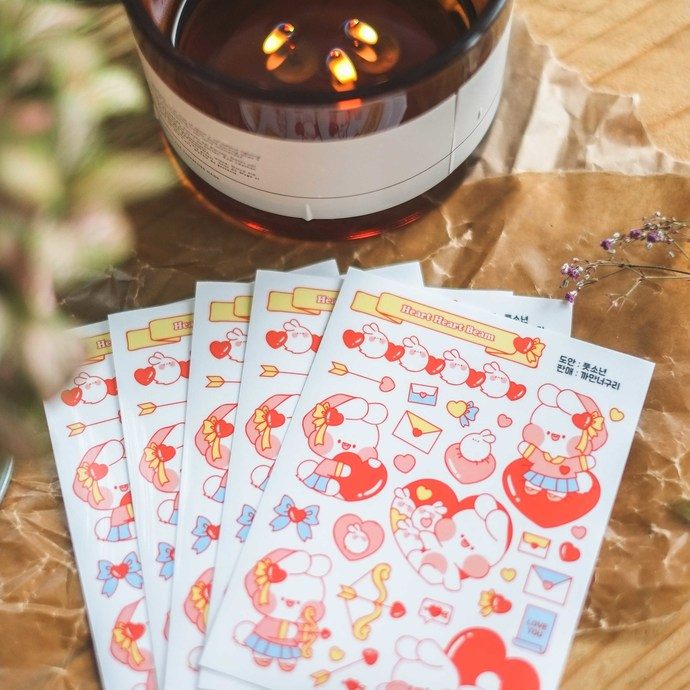 Put So Nyeon cute sticker sheets, set of 2 - Heart Beam