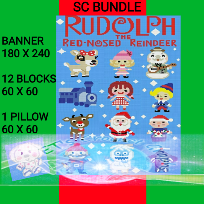 Full Version Rudolph the Red nose Reindeer Bundle 14 Patterns SC includes Graphs