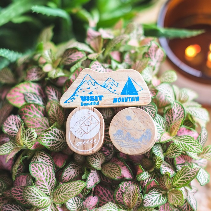 Fun & Joy wooden stamp set - The mountains - set of 3 rubber stamps
