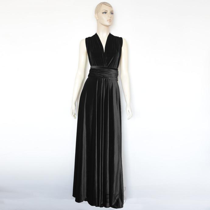 Infinity velvet dress Black bridesmaid gown Plus size evening dress Maternity