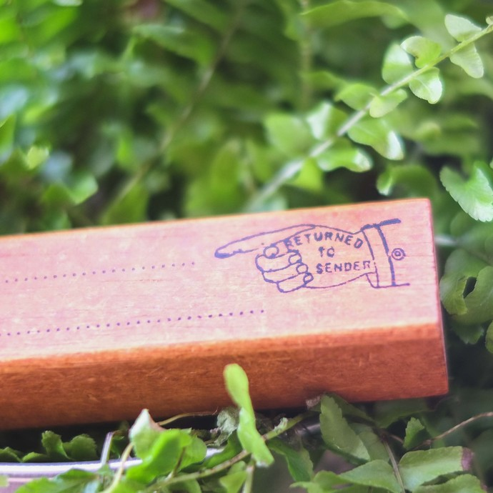 Fun & Joy wooden stamp in a cardboard box - Return To Sender - 2.5 x 10 cm