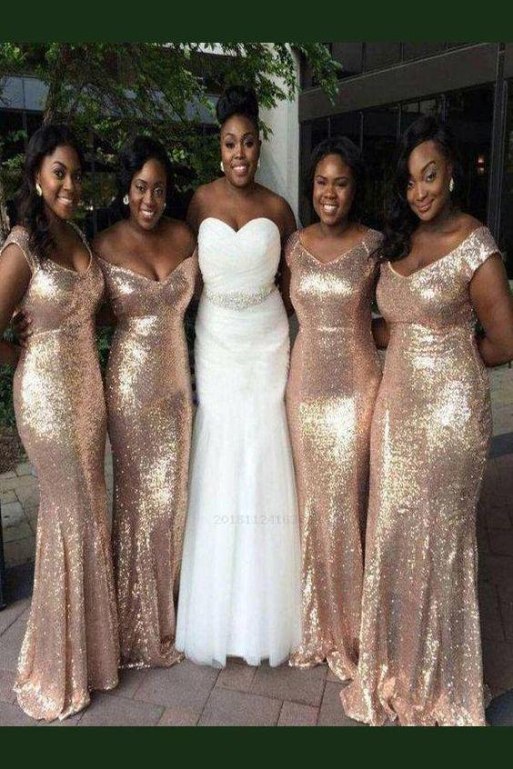 Custom Made Light Sequin Bridesmaid Dress, Custom Made Bridesmaid Dress