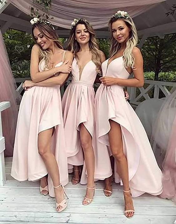 Simple V-Neck Pink High Low Prom Dress,Bridesmaid Dress