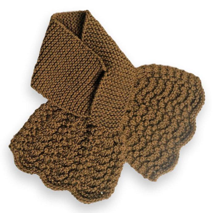 Knit Scarf Ladies Keyhole, Dark Amber