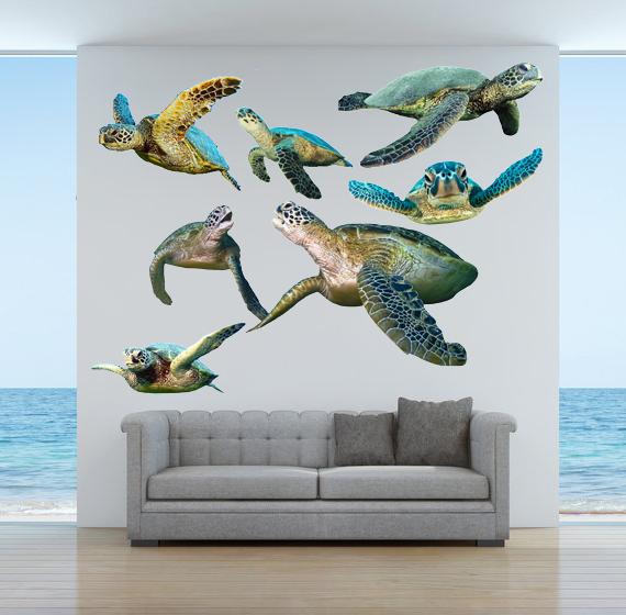 "Sea Turtles - Vinyl Wall Decal Set - Various Sizes on a 27"" x 39.75"" sheet -"