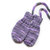 Purple No Thumb Baby Mittens on a String. Hand Knit Infant Mitts With Coat Cord.