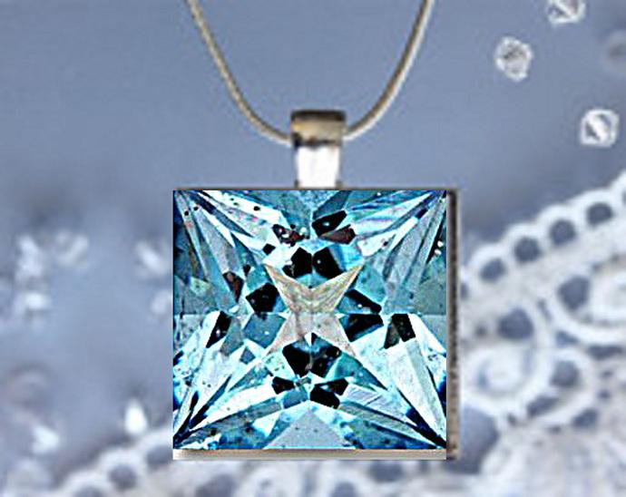 Pendant Necklace Birthstone, March Aquamarine