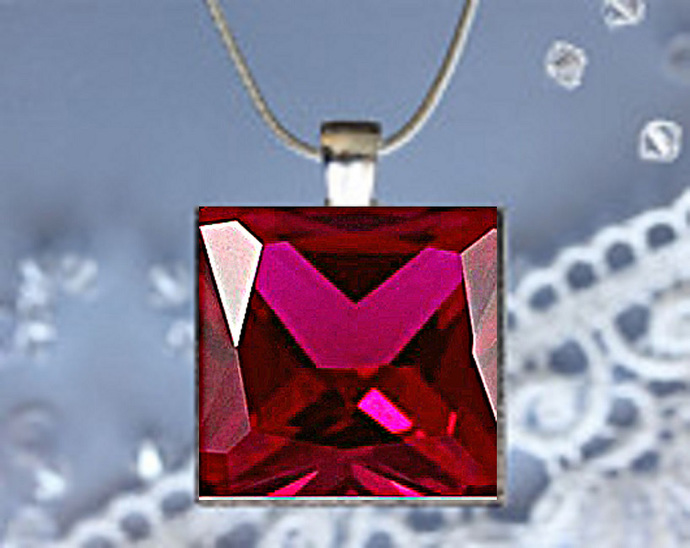 Pendant Necklace Birthstone, July Ruby