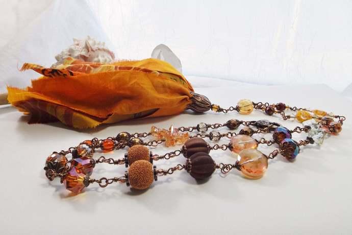 Shabby Chic Long Handmade Beaded Chain Copper Boho Necklace with Orange Sari