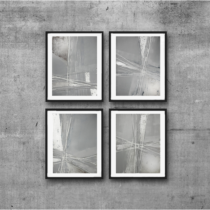 Original abstract painting, rustic home decor, abstract painting ,Set of 4 gray