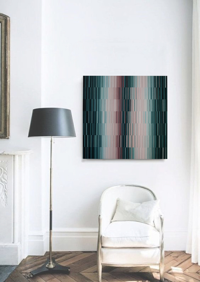 Abstract Acrylic Painting, lines original teal pink Painting, Large acrylic