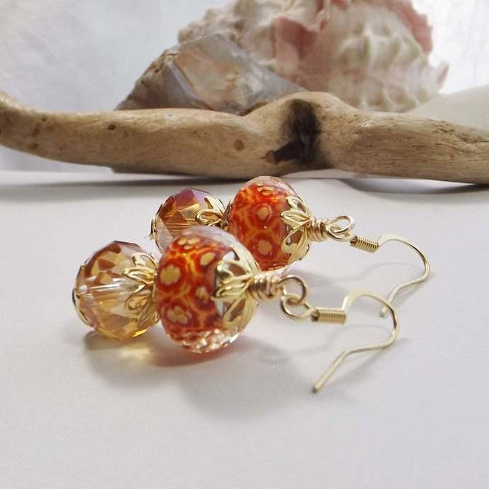 Orange Lampwork Beaded Boho Drop Earrings with Amber Glass Beads from Jesse