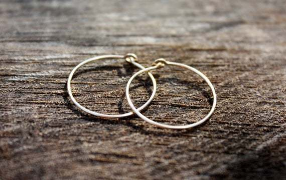 14K Solid Gold Hoops, 14K Gold Hoop Earrings, 1 Inch Gold Hoops, 1 inch Solid