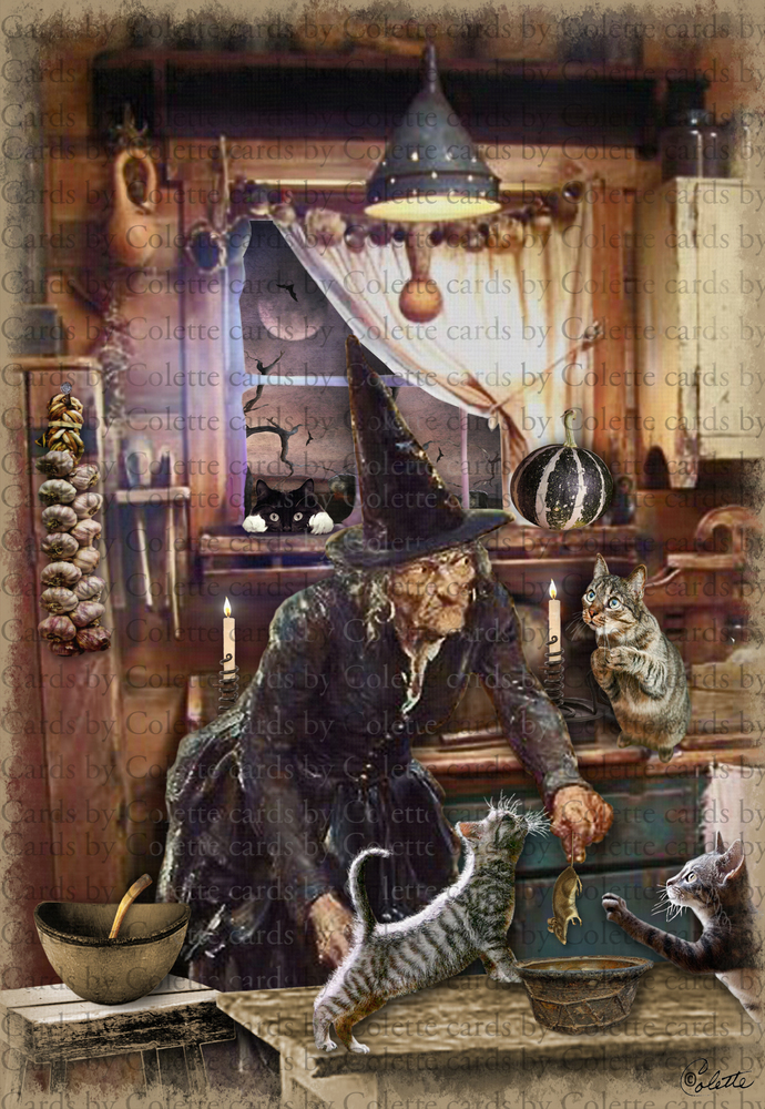 Halloween Witch Feeding Cats Digital Collage Greeting Card828
