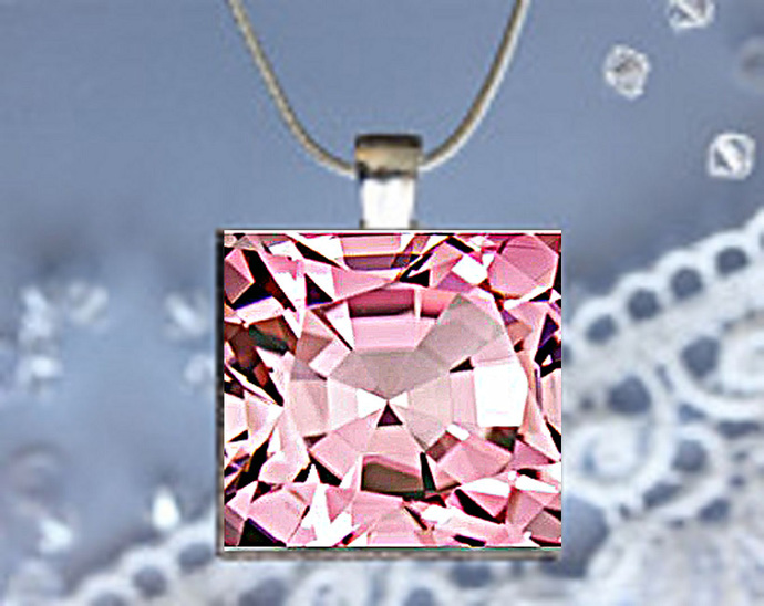 Pendant Necklace Birthstone, October Tourmaline (Pink)