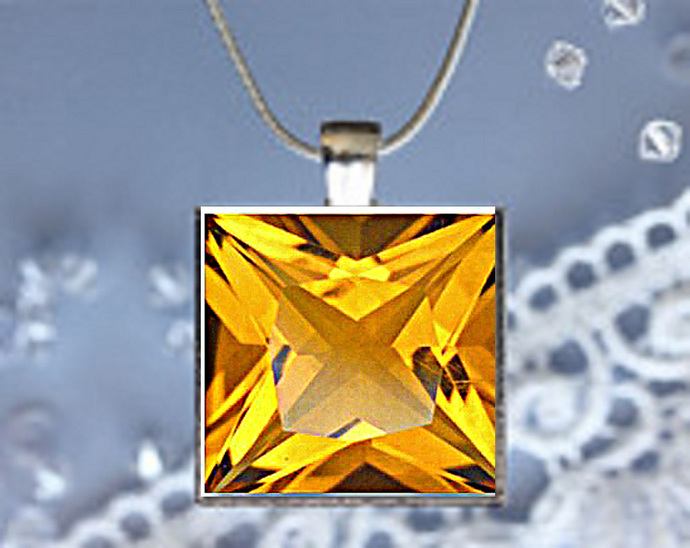 Pendant Necklace Birthstone, November Topaz (yellow)