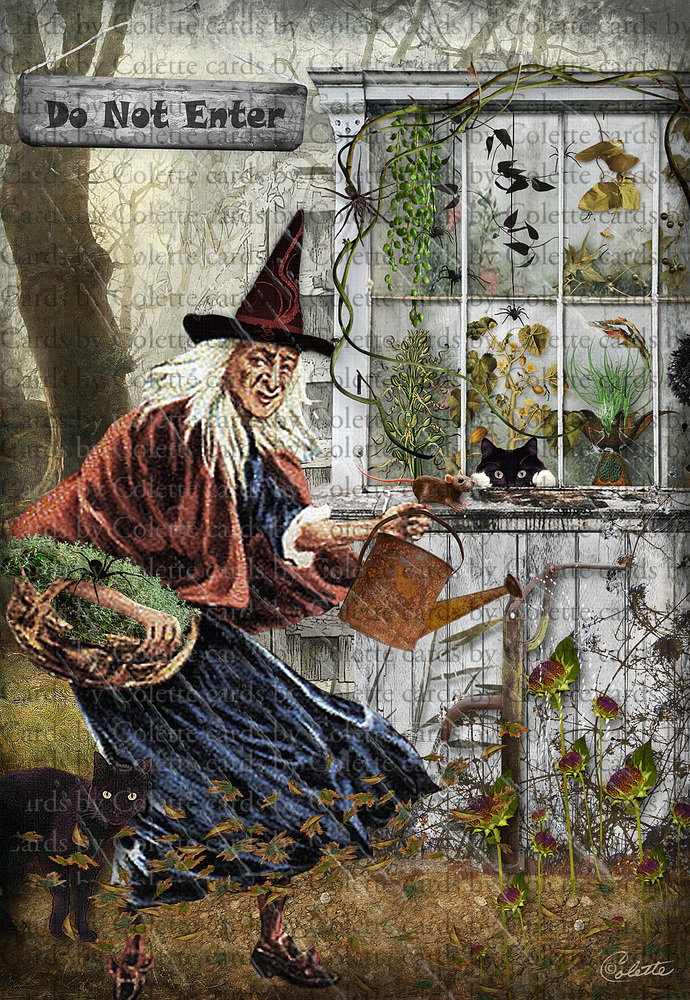 Halloween Witch Gardening Digital Collage Greeting Card811