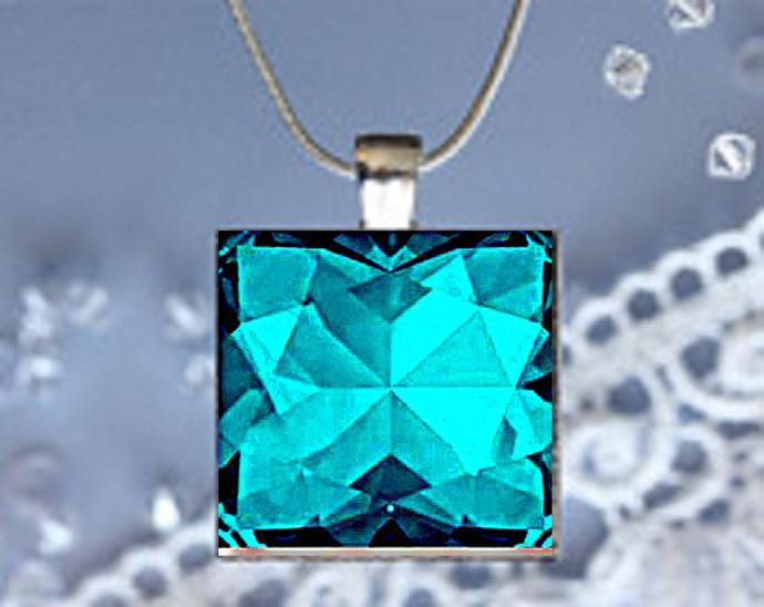 Pendant Necklace Birthstone, December Blue Zircon