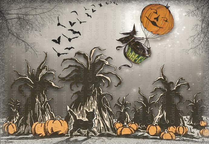 Halloween Witch in a Hot Air Balloon Digital Collage Greeting Card883