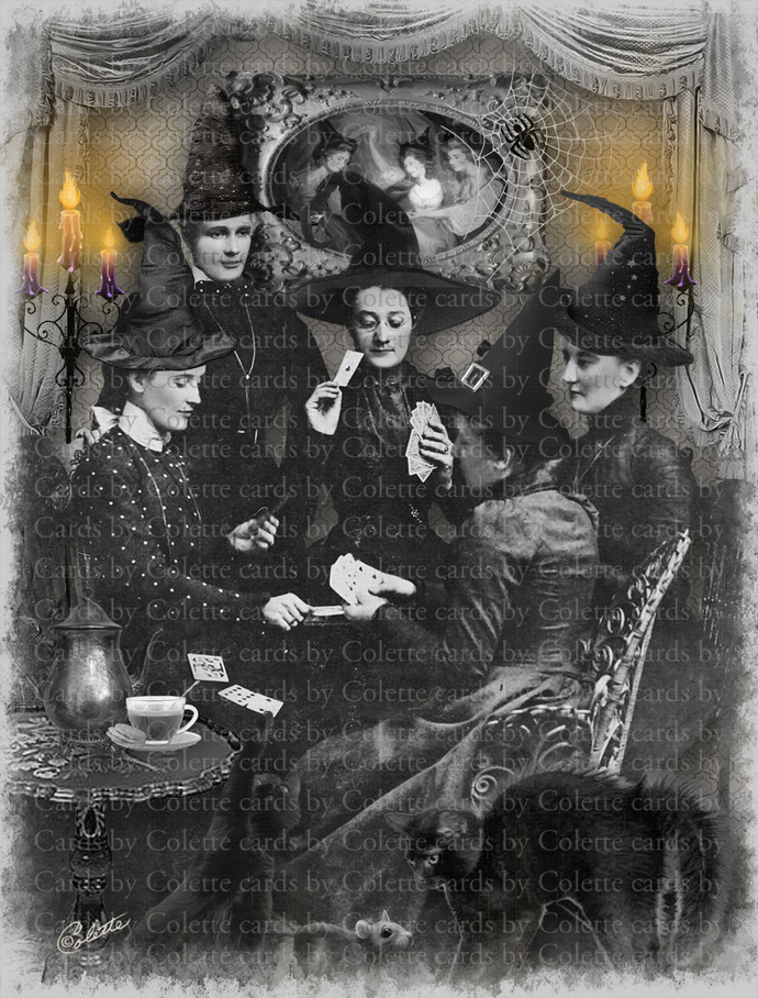 Witches Bridge Playing NIght Digital Collage Greeting Card819